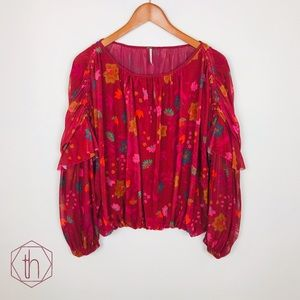 Free People wildflower honey top medium red berry